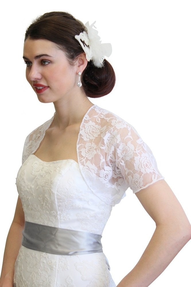 Tion Bridal Womens Lace Bolero Jacket With Short Sleeve