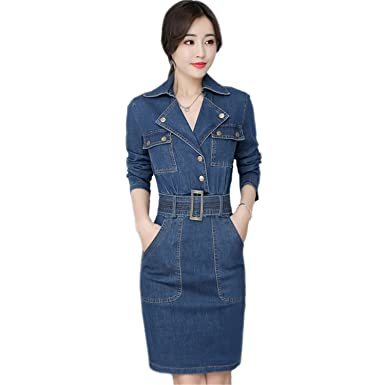 ceb6c2c067efab Henraly Women Denim Dress Office Ladies Jeans One-Piece Dress with Belt for  Women Pencil