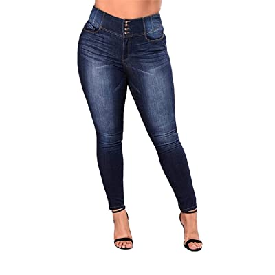 Women's High Waist Plus Size Jeans Butt Lift Stretch Pull-On Skinny Jean Slim Denim Jegging at Women's Jeans store