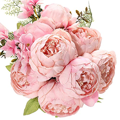 Uworld Fake Artificial Flowers Vintage Silk Peony Flowers Bouquet for Home Wedding Centerpieces Décor and DIY,Peach Pink