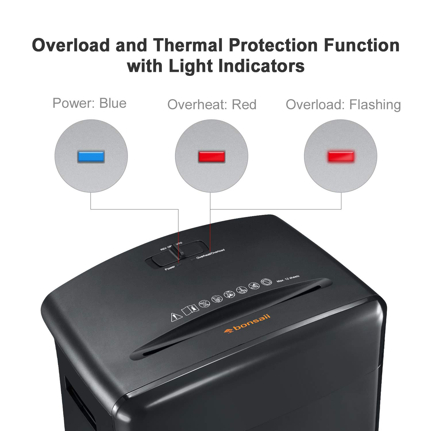 Bonsaii 12-Sheet Cross-Cut Paper, CD/DVD, and Credit Card Shredder with 3.5-gallons Pullout Basket, Black (C220-A) by bonsaii (Image #3)