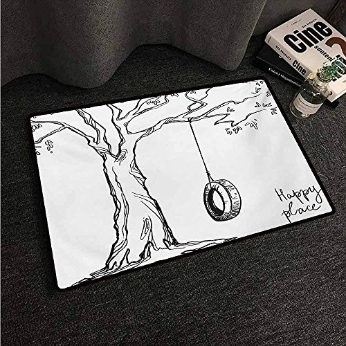 HCCJLCKS Thin Door mat Tree Tree with a Tire Swing Illustration Happy Place Summer Childhood Holidays Garden Easy to Clean Carpet W24 xL35 Black -