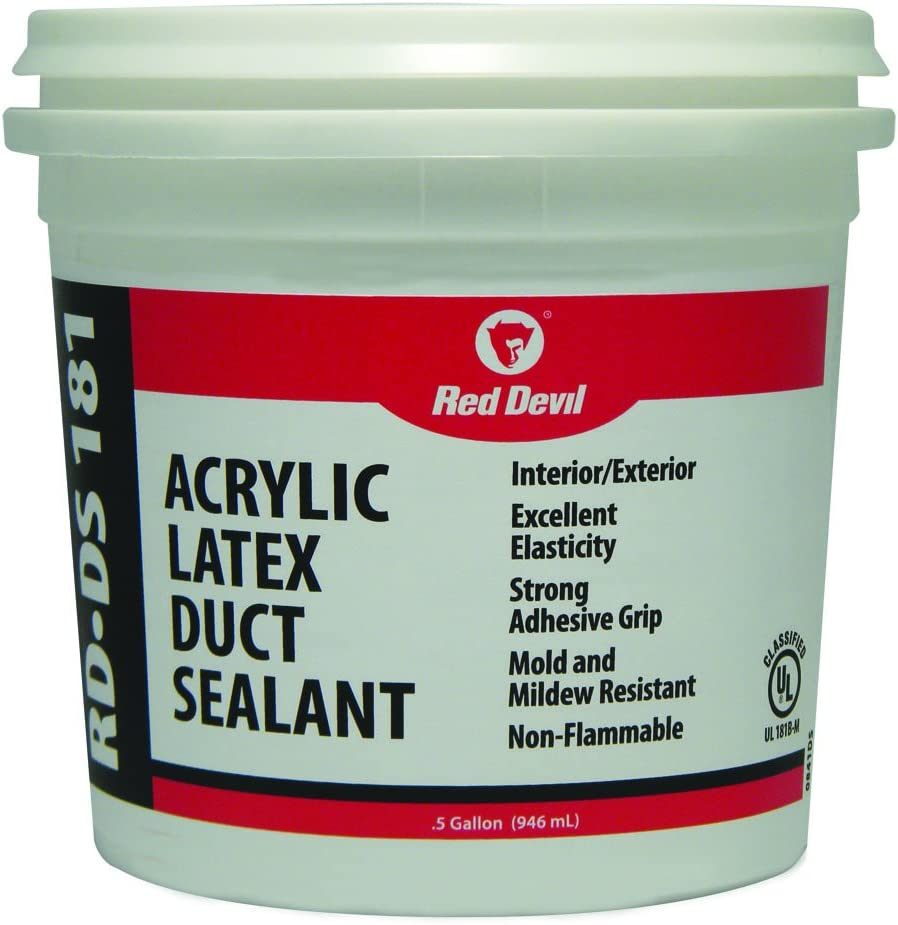 Red Devil 0841DS RD-DS 181 Acrylic Latex Duct Sealant, 1/2 Gallon, Gray