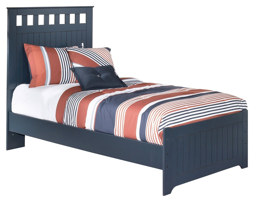 Ashley Furniture Signature Design - Leo Kids Bedset with Headboard & Footboard - Childrens Twin Size Panel Bed - Navy Blue by Ashley Furniture
