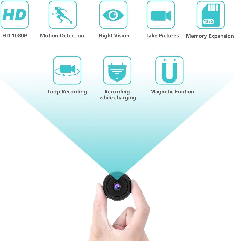 Camara Espia Oculta, Cámara de Vigilancia Magnética Full HD 1080P con Detección de Movimiento y Visión Nocturna, Vigilancia de mini Camara Espia Interior / Exterior Compatible con Expansión 128G