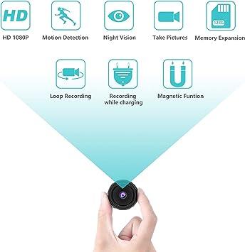 Opinión sobre Camara Espia Oculta, Cámara de Vigilancia Magnética Full HD 1080P con Detección de Movimiento y Visión Nocturna, Vigilancia de mini Camara Espia Interior / Exterior Compatible con Expansión 128G