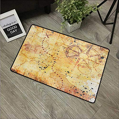 Island Map,Entry Rug Antique Treasure Map Grunge Rusty Style Parchment Print History Theme Boho Design W 20