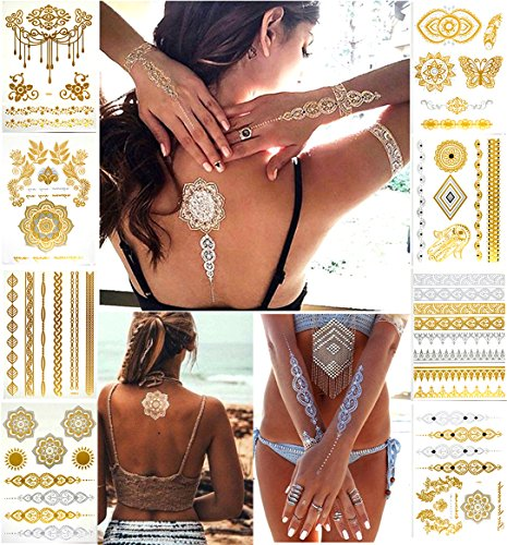 Nekomi Temporary Tattoos Metallic Henna Tattoos - Over 80 Jasmine,Mandala,Mehndi, Boho Tattoos in Gold and Silver (8 Sheets), Glitter Shimmer Designs Jewelry Tattoos,Color Flash Fake Waterproof Tattoo]()