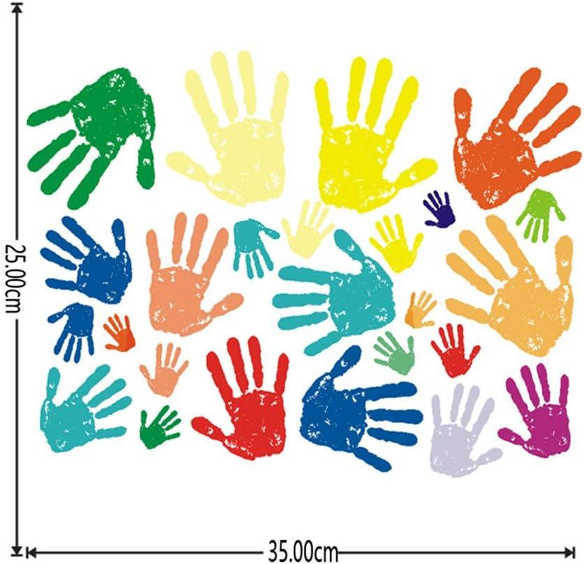 35 cm Amosfun Empreintes de Main Stickers muraux Enfants b/éb/é Stickers muraux p/épini/ère Salle de Classe Salle de Jeux Stickers muraux Stickers muraux d/écorations murales 25