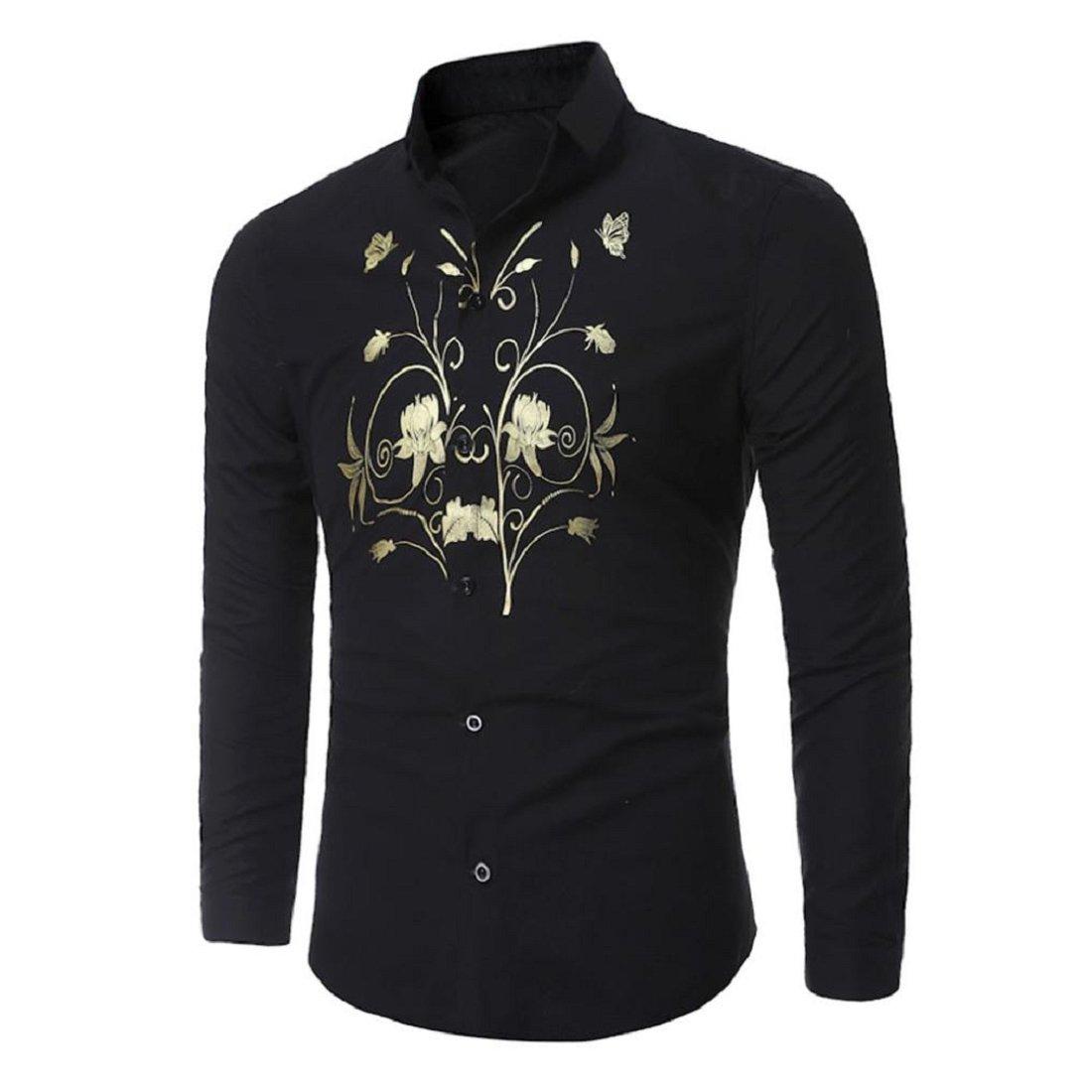 Gonkoma Luxury Stylish Mens Casual Slim Fit Long Sleeve Dress Shirt