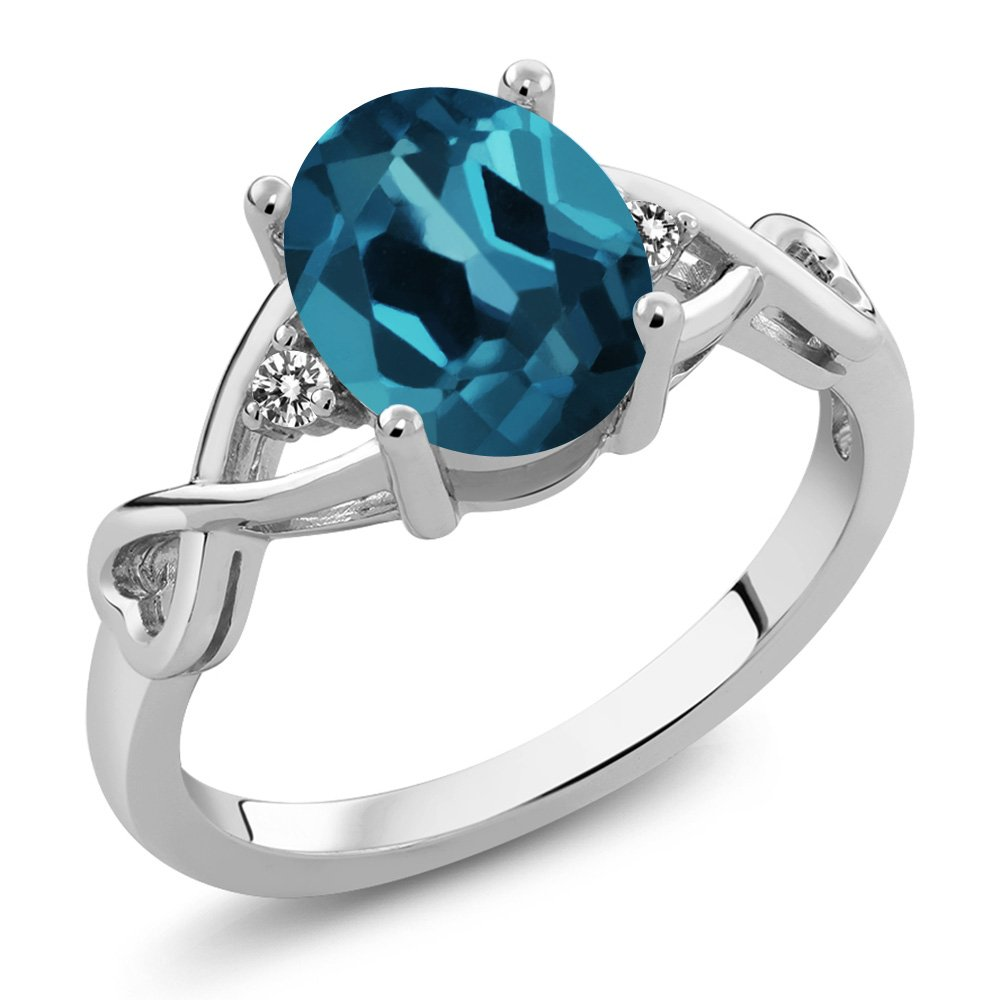 1.86 Ct Oval London Blue Topaz White Diamond 925 Sterling Silver Ring