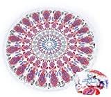 BAZABA)Thick Microfiber Round Beach Towel Blanket 62 Inches Across (NO.8)