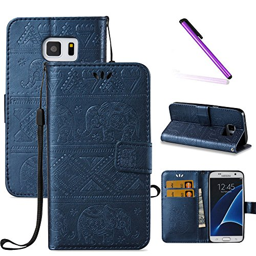 Galaxy S7 Case,LEECOCO Fancy 3D Relief Embossed Wallet Case with Card / Cash Slots [Kickstand] Shockproof Slim Premium PU Leather Flip Case Cover for Samsung Galaxy S7 Elephant - Elephant Embossed