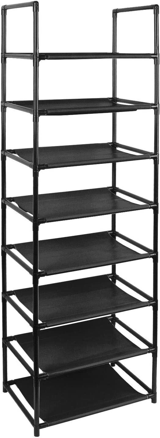 Clewiltess 8 Tier Stackable Shoe Rack,16-20 Pairs Storage Shoe Shelf with Stainless Steel,Entryway Shoe Organizer (Black)