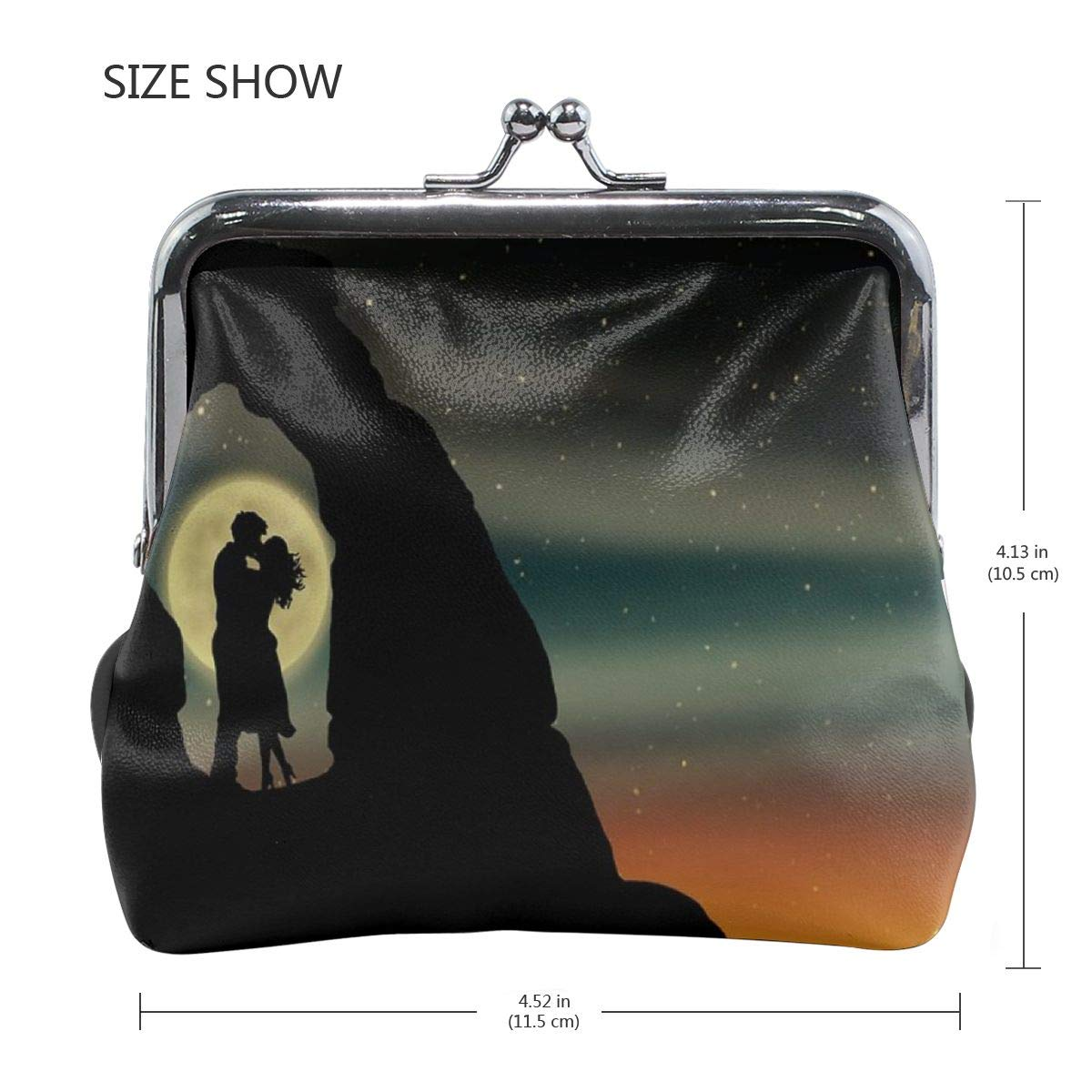 Yunshm Star Moon Lovers Delicate Arch Silhouette Customized Retro Leather Cute Classic Floral Coin Purse Clutch Pouch Wallet For Girls And Womens