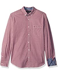 Men's Classic Fit Stretch Gingham Long Sleeve Button Down...