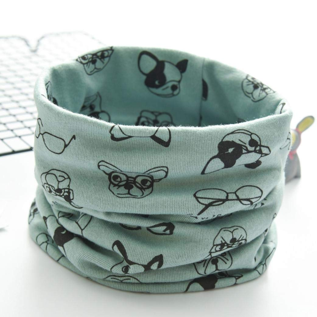 Winter Kids Cotton Scarf Cartoon Dog Scarf O Ring Neck Scarves for Boys Girls by Kaicran