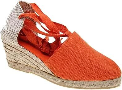 Alpargata Valenciana Lona Pique con Cintas y cuña de Yute Altura 6 cm Hechas EN ESPAÑA: Amazon.es: Zapatos y complementos