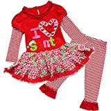 YiZYiF Baby Girl's Christmas Theme Top Tutu Dress with Leggings Clothes Set Red Santa 4T