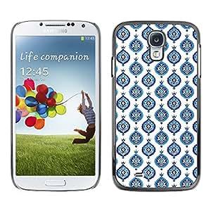 TopCaseStore / la caja del caucho duro de la cubierta de protección de la piel - Blue White Wallpaper Paint - Samsung Galaxy S4 I9500