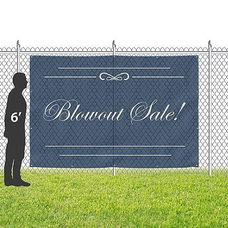 Blowout Sale CGSignLab Classic Navy Wind-Resistant Outdoor Mesh Vinyl Banner 12x8