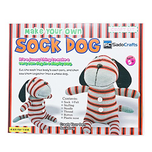 SadoCrafts Sew Your Own Sock Doll Sewing Craft Kit Sew and Stuff Model DOG
