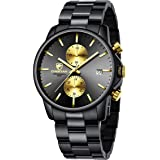GOLDEN HOUR Fashion Business Mens Watches with Stainless Steel Waterproof Chronograph Quartz Watch for Men, Auto Date