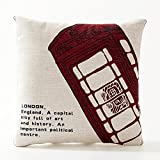 A.B Crew Creative British Style 2 in 1 Cotton Linen Pillow Quilt Blanket Lumbar Supports Throw Pillow Back Cushion(Telephone Booth)