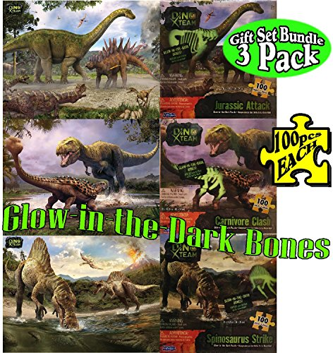 (Uncle Milton Dino X Team 100pcs Glow-in-the-Dark Dinosaur Puzzles