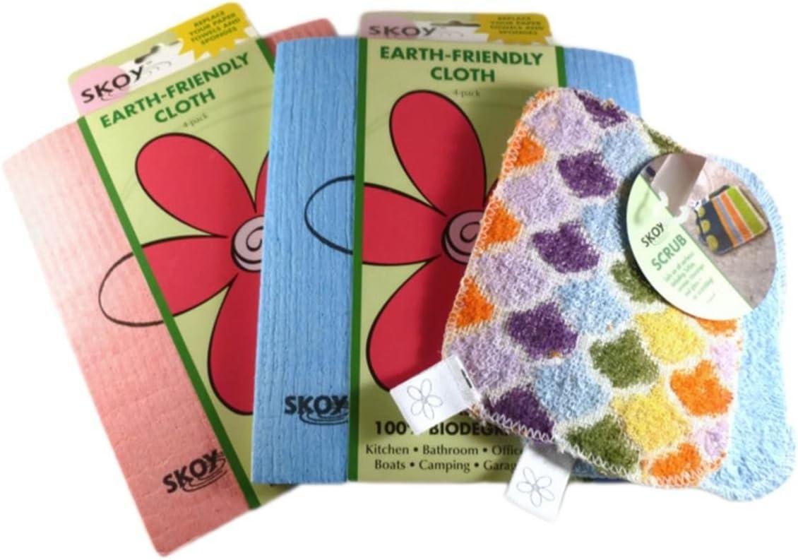 Skoy Products Bundle 3 Items 2 Flower(4 Pk) and 1 Scrub Set (2 Pk)