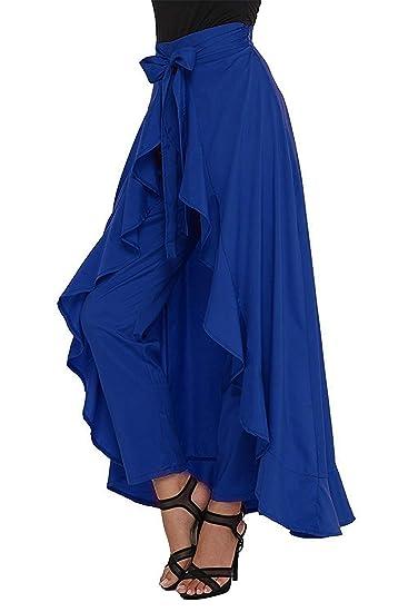 a0b705792e0e Gopi Fashion omen's Ruffle Crepe Palazzo High Waist Long Pants with Maxi- Skirt Overlay (Free Size,Royal Blue Plazo): Amazon.in: Clothing &  Accessories