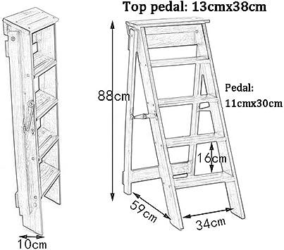 hmjv Escalera-estante-soporte Escalera plegable Escalera de madera multiusos Escalera de mano portátil Silla de escalera de 5 escalones Biblioteca doméstica ligera Taburete de escalera Carga máxima 1: Amazon.es: Bricolaje y herramientas