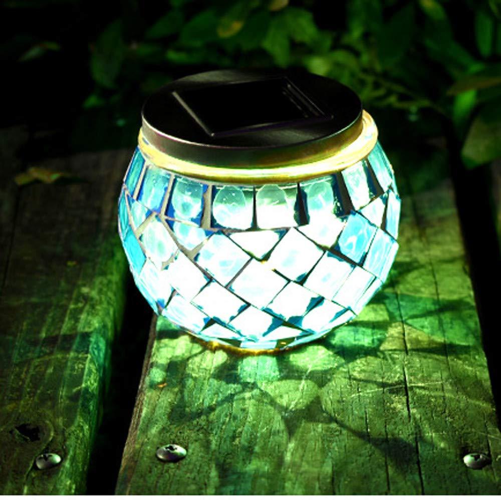 H+K+L Outdoor LED Waterproof Solar Garden Lamp Mosaic Canned Lamp Landscape Path Lights Lamp Post Deck (Sky Blue)