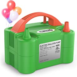 Dr.meter Electric Air Balloon Pump, Portable Christmas Decorations Air Pump with Dual Nozzle