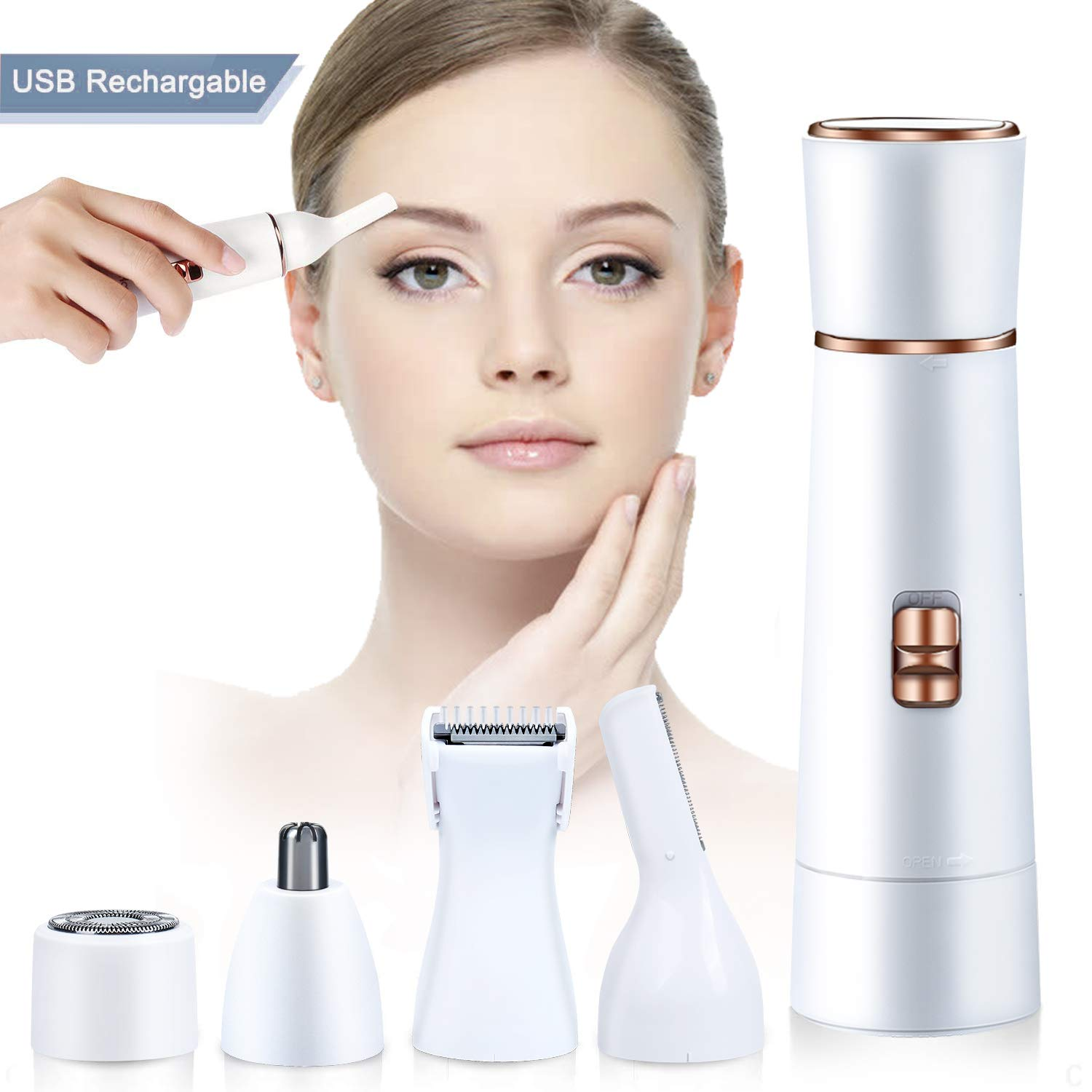 Facial Hair Removal for Women Hair Remover Trimmer 4 in 1 with USB Rechargeable Waterproof for Face, Armpit, Chin, Body, Ear/Eyebrow and Bikini Area