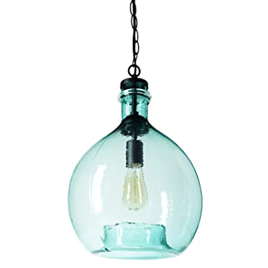 CASAMOTION Wavy Hammered Hand Blown Glass Pendant Light, 1 hanging Light, 13 diam.19.9 h, Sea Green