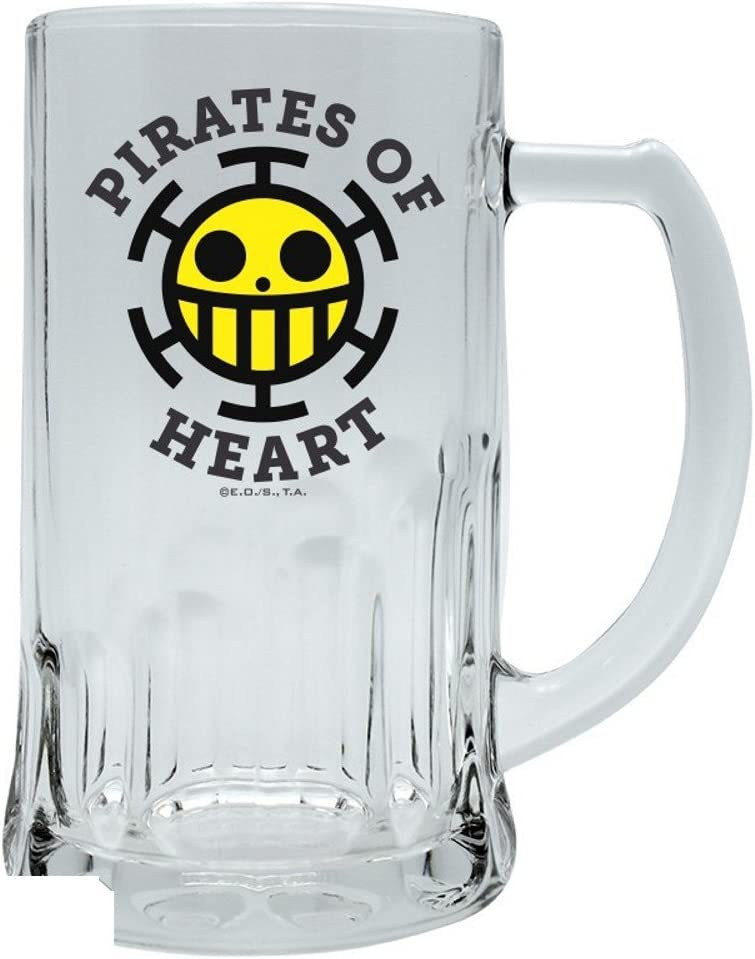 500 ml One Piece Jarra de cerveza de cristal Logotipo de Trafalgar Pirates of Heart