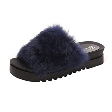 Chaussures 2018 San Francisco site professionnel Manadlian Pantoufle Femmes,Pantoufle Fille, Chaussons Femme Hiver Sandales  Plates en Fausse Fourrure à Enfiler Mules Chaussures
