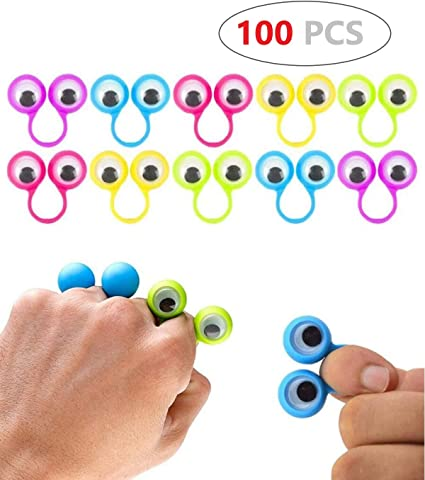 100X Eye Finger Puppets Rings With Wiggle Eyes Party Favors For Kids Best Gift
