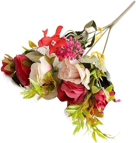 Whiie891203 Flores Artificiales Falsas Plantas, Arreglos Ramos De ...