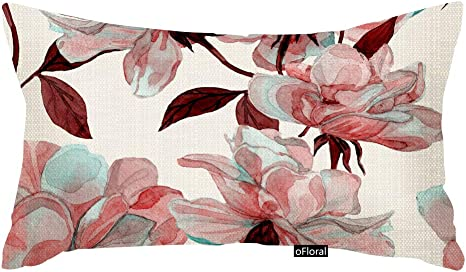 Amazon Com Ofloral Throw Pillow Cover Watercolor Flower Rose Floral Maroon Allover Cotton Linen Pillow Case Cushion Cover For Home Couch Bedroom Decor Rectangle 12x20 Inches Pillowcase Home Kitchen