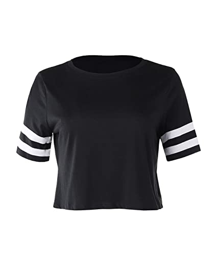 f628c308c51 Dream Supply Women s Short Sleeve Crewneck Baseball Varsity Stripe Crop Top Tee  Black