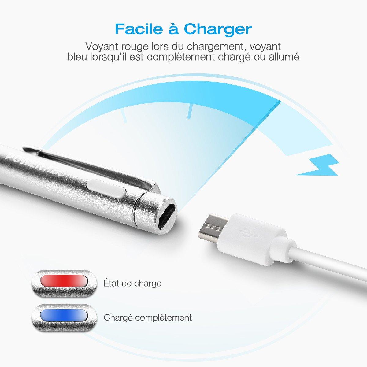Poweradd Stylus Actif, Haute Précision Stylo Capacitif Universel pour les Appareils iOS / Android / Microsoft à Ecran Tactile, Argent