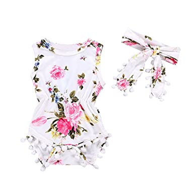 39d19d32d17 Fineser Baby Romper Infant Girls Sleeveless Floral Print Tassels Jumpsuit  with Headband Outfit Clothes (White