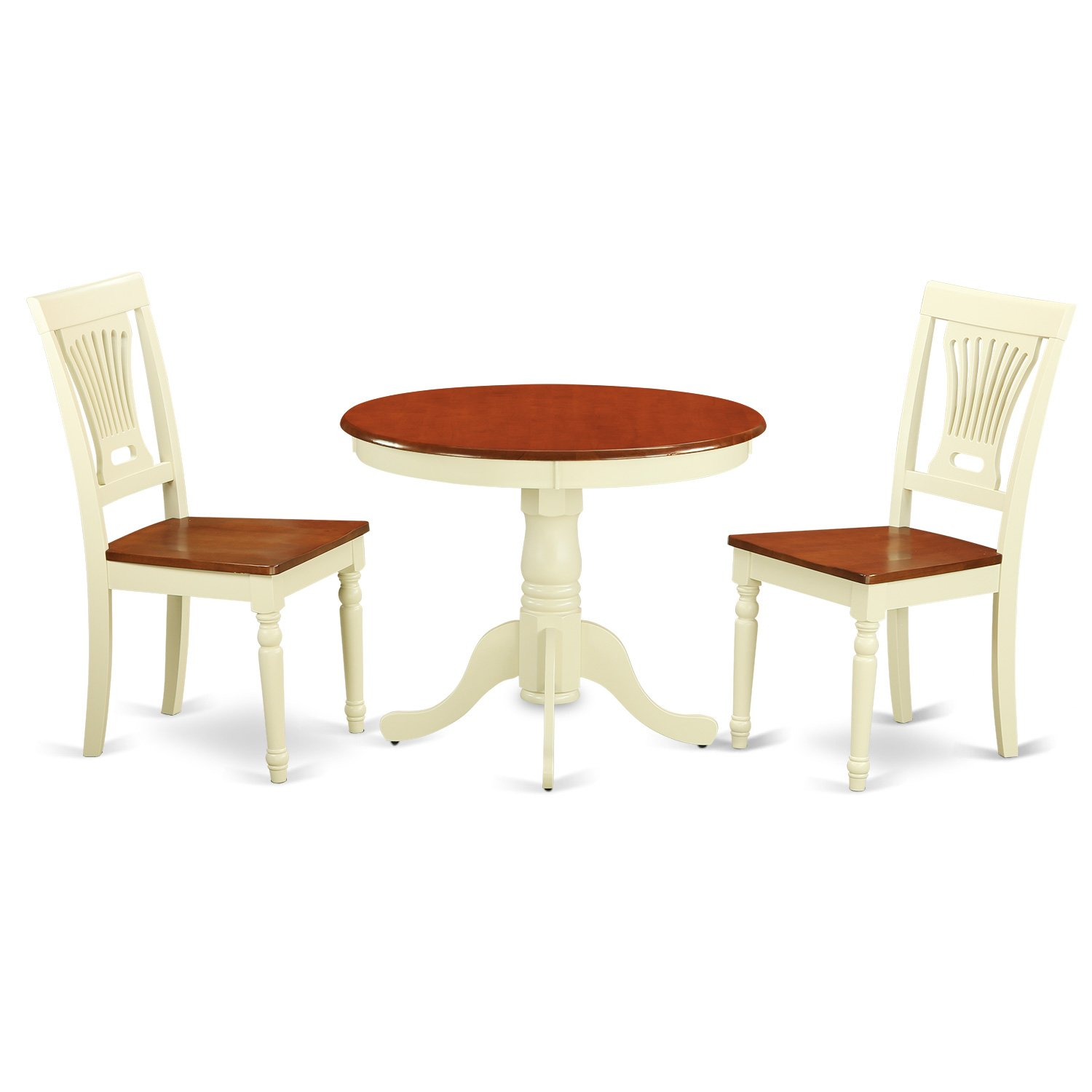 East West Furniture ANPL3-WHI-W 3-Piece Kitchen Nook Dining Table Set, Buttermilk/Cherry Finish