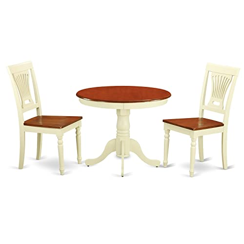 ANPL3-WHI-W 3 PC Kitchen nook Dining set-round Table plus 2 Dining Chairs