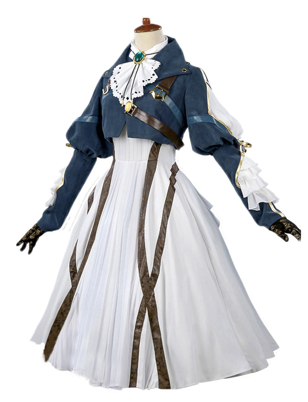 Nuoqi Violet Evergarden Cosplay Costume Womens Anime Uniforms Suit Dark Blue White