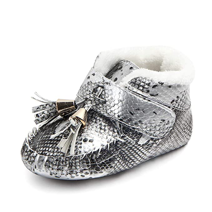 YanHoo Zapatos de niñas Zapatos de Borla para bebés más Zapatos de Terciopelo para bebés Zapatos Antideslizantes Zapatos para niños pequeños bebés recién y ...
