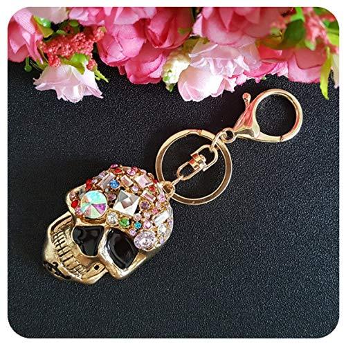 (1 Pc Crystal Skull Skeleton Rhinestone Keychains Lover Pendants Teen Keys Strap Ball Puff Key Rings Culmination Popular Pocket Bag Car Keyring)
