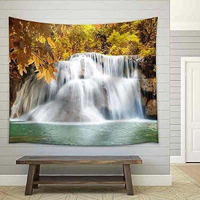Alluring Print, Premium Creation, Huaymaekamin Waterfall Beautiful Waterfall in Autumn Forest Kanchanaburi Province Thailand Fabric Wall